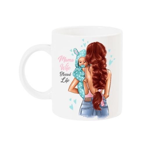 Чаша с дизайнерски принт - MAMA WIFE BLESSED LIFE - BOY