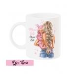 Чаша с дизайнерски принт - MAMA WIFE BLESSED LIFE - GIRL