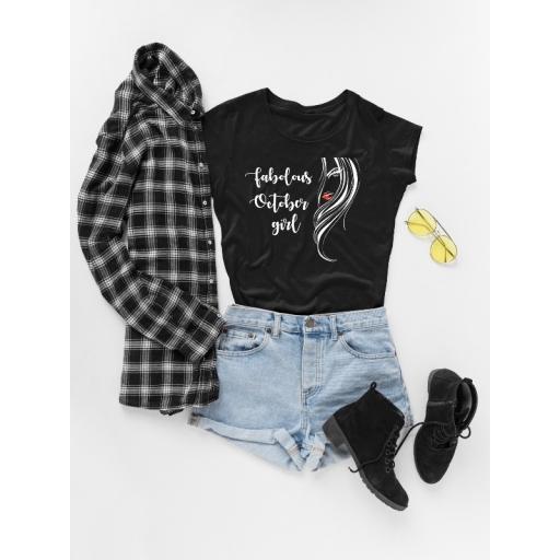 """Дамска черна тениска  със забавен надпис """" Fabolous october girl """""""