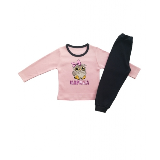 Детска пижамка за момиче-бухалче с панделка и име с цветя