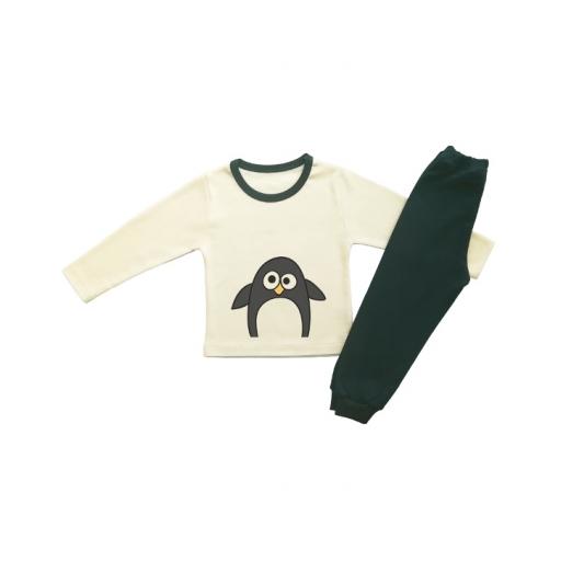 Детска пижамка в екрю с пингвинче