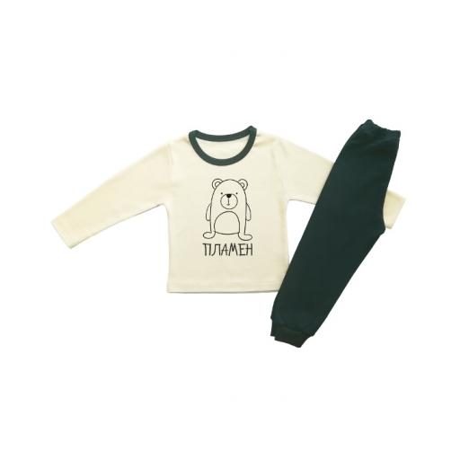 Детска пижама,екрю с мече черен надпис и име