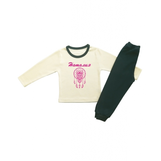 Детска пижамка в екрю, за момиче капан за сънища с розов надпис и име