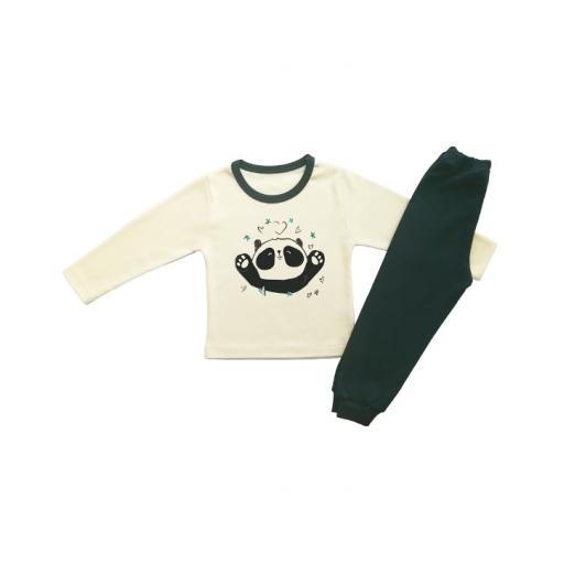 Детска пижамка в екрю с панда и сърчица