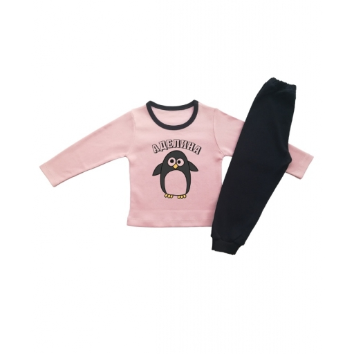 Детска пижамка за момиче с пингвинче и име