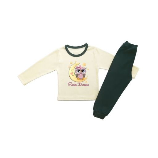 Детска пижамка сладки сънища с луна и бухалче в екрю