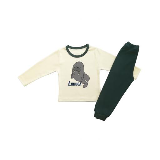 Детска пижама в екрю с юленче и име