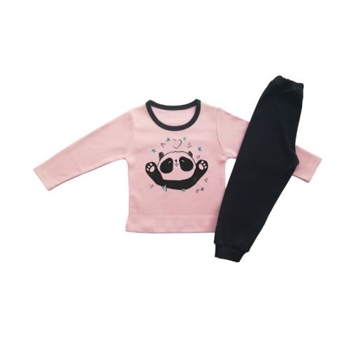 Детска пижамка за момиче с панда и сърчица