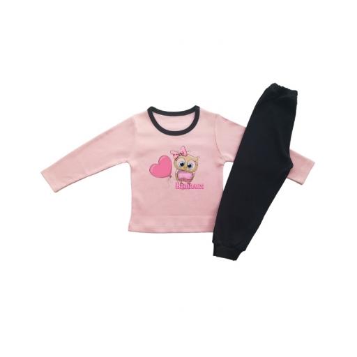 Детска пижамка за момиче с бухалче, име и сърчице