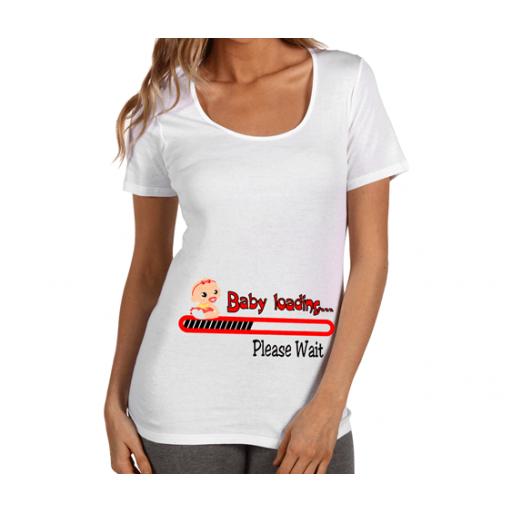 """Тениска за бременни **** """"Baby loading"""" в червен цвят"""