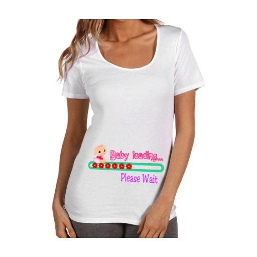 """Тениска за бременни с розов надпис ****  """"Baby loading"""""""