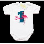 "Бебешко боди ""една годинка с фламинго"""
