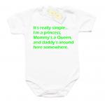 """Забавно бебешко боди """"It""""s really simple…I'm a princess….."""" в син цвят"""