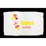 Кърпа за кръщене с името на детето и дата в розов цвят