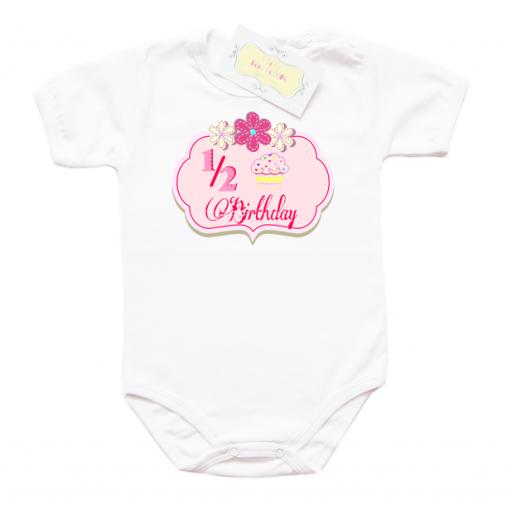 Бебешко боди с щампа за една втора рожден ден