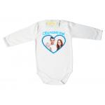 Забавно бебешко боди Синьо сърце със снимка