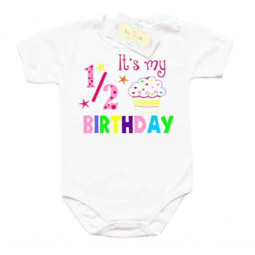 Забавно бебешко боди за 1/2 рожден ден за момиче