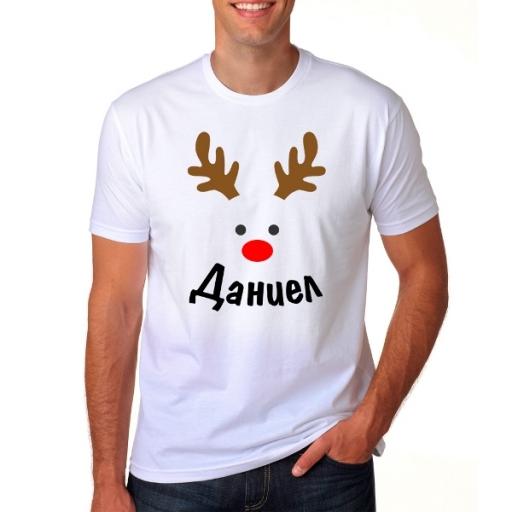 Мъжка коледна тениска еленче