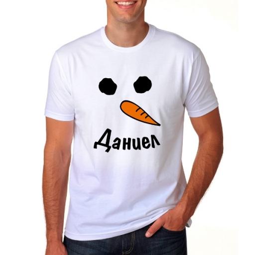 Коледна мъжка тениска снежен човек с име