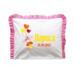 Бебешка възглавница с името на детето в розов цвят