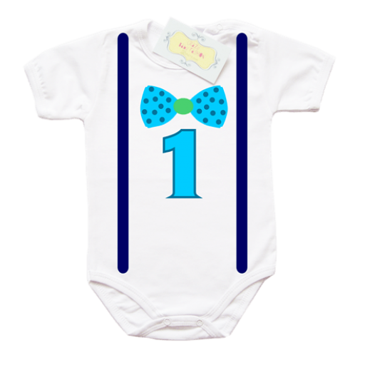 Бебешко боди със синя папионка и тъмно сини тиранти